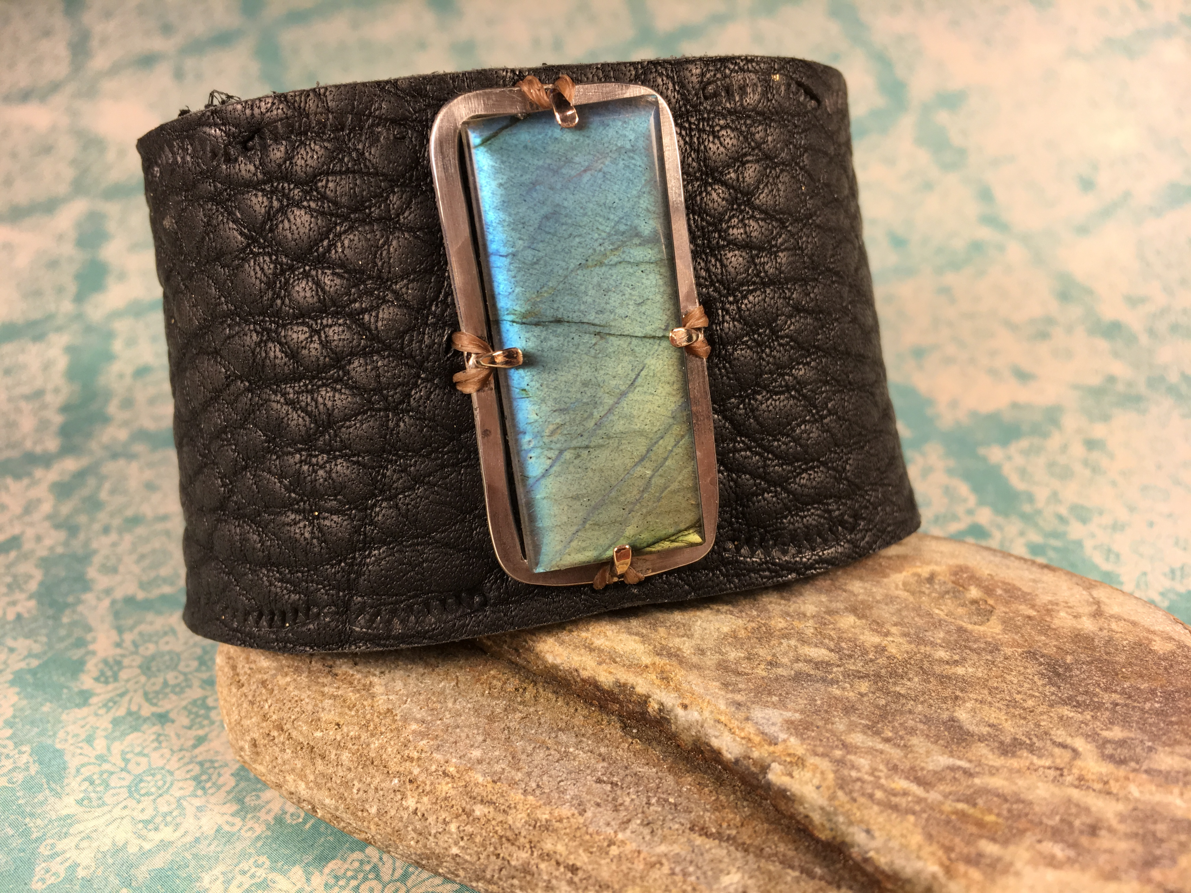 Hand-Cut Labradorite on Leather