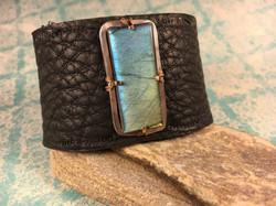 Hand-Cut Labradorite on Leather