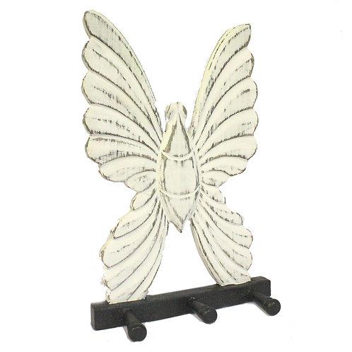 Wooden Coat Hanger - Butterfly Whitewash