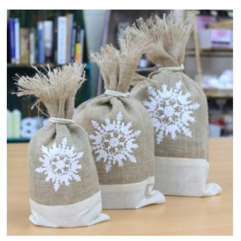 Danish Pouch Set of 3 - White & Snowflake