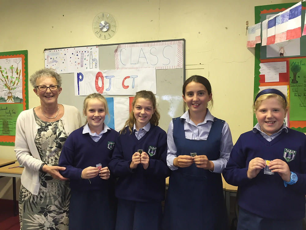 Head Girl Erin, Deputy Head Girl Emma and Monitors Nicola and Sophie with Mrs Mansfield
