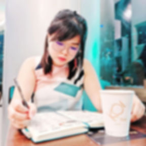 Journaling while the Hot Milk Tea chills