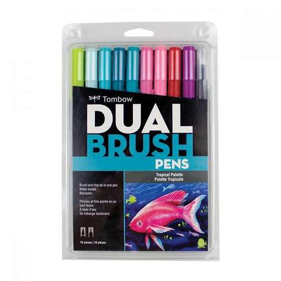 Tombow Dual Brush Pens - 10pcs Tropical Palette Set
