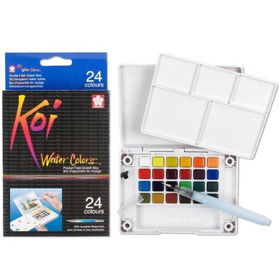 Sakura Koi Watercolour Pocket Field Sketch Box (24-colours)