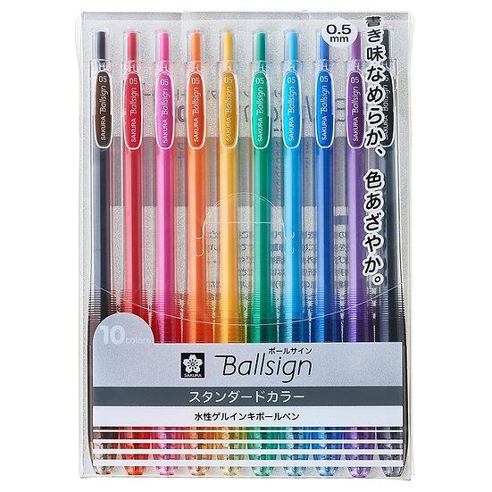 Sakura Ballsign Knock Gel Pen 0.5 (10-Color Set)