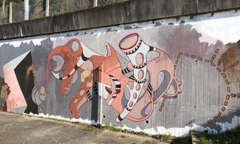 Fresque murale en cours de réalisation