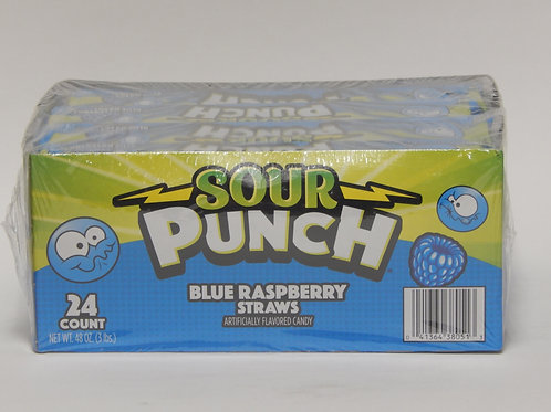 Sour Punch Blue Raspberry Straws (24ct)