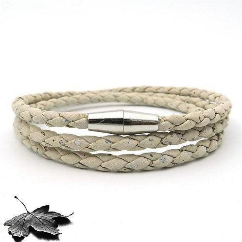 Bracelet liège Blanc Tressé multi-tours
