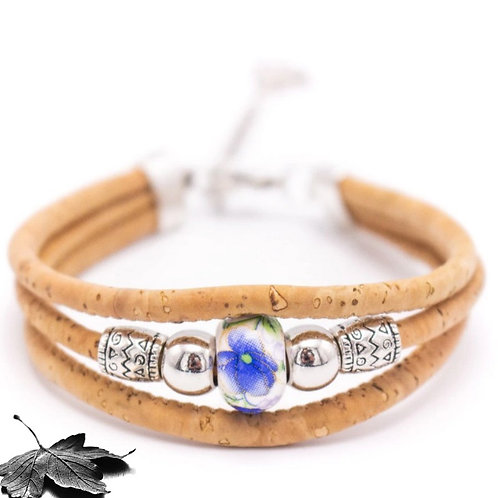 """Bracelet liège """"Perle nacrée Bleue"""""""