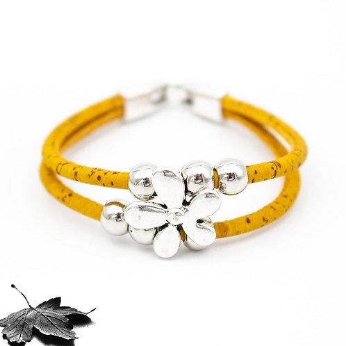 "Bracelet liège Moutarde ""Fleur et perles"""