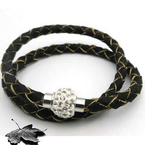 Bracelet liège  - Noir Charme Strass