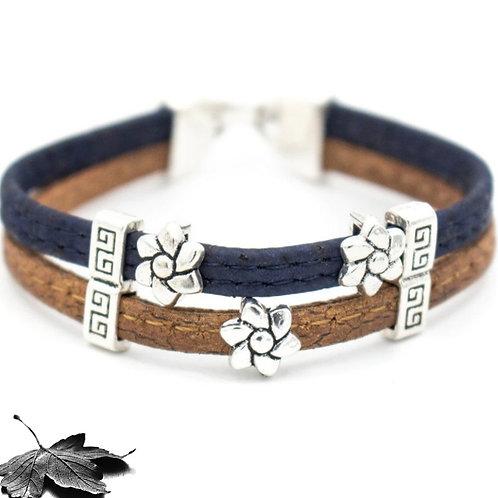 "Bracelet liège Fleurs ""Bicolore"""