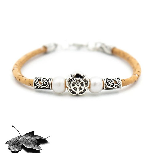Bracelet liège - Perles et Fleur