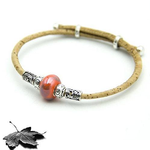 "Bracelet liège ""Perle Nacrée Rouge"""