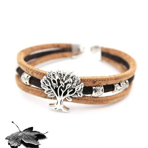"""Bracelet liège 3 Cordons - """"Arbre de vie"""""""