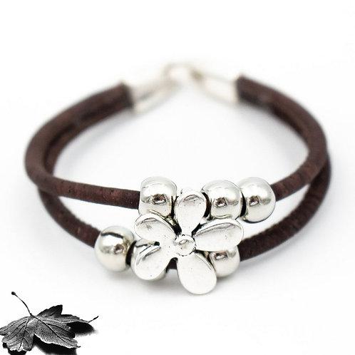 """Bracelet liège Brun """"Fleur et perles"""""""