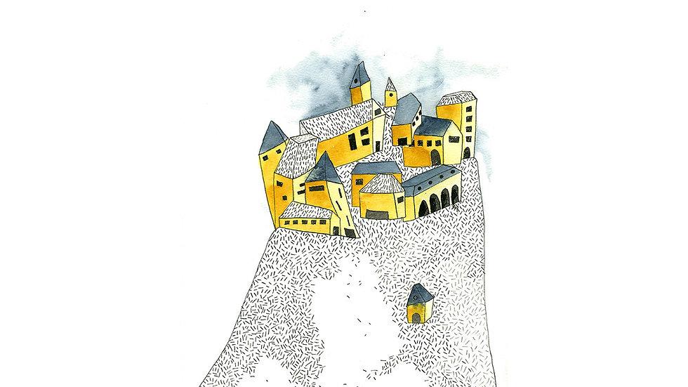 """Affichette """"Le village"""""""