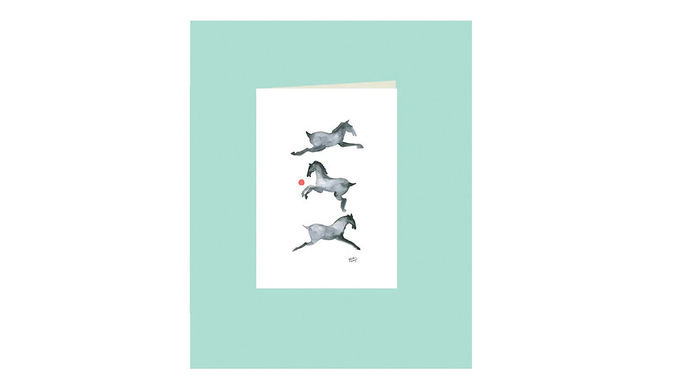 "Carte postale ""3 chevaux"""