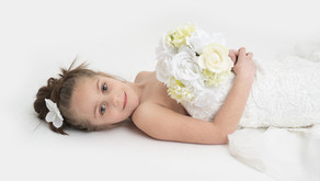 6 year old Miss Layla wearing mom's wedding gown!