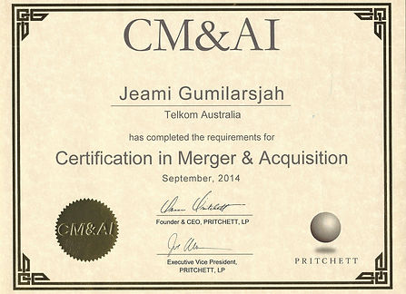 Certificate Merger and Acquisition Jeami Gumilarsjah, MBA, CMAP, CMA&I