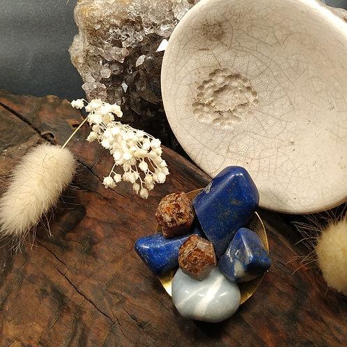 Broche lapis lazuli grenat