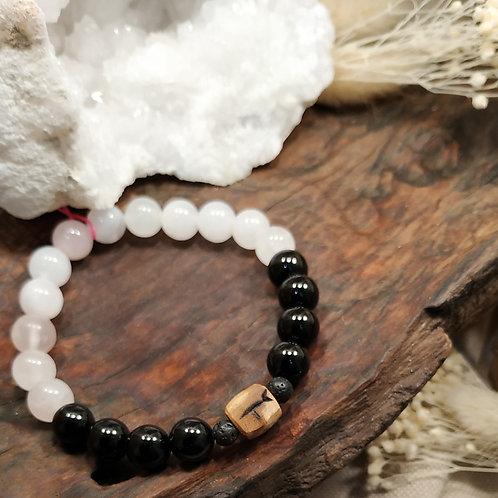 Bracelet quartz rose tourmaline noire