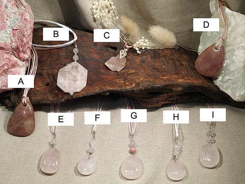 pendentif quartz rose H