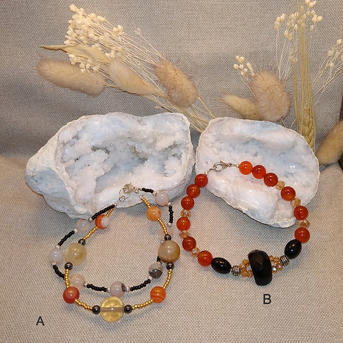 "Bracelet B ""cornaline onyx"""
