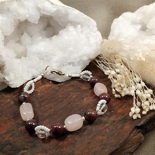 bracelet quartz rose grenat