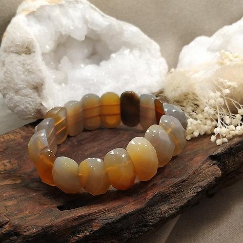 Bracelet agathe naturelle facettée