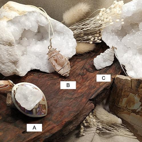 Pendentif géodine quartz B