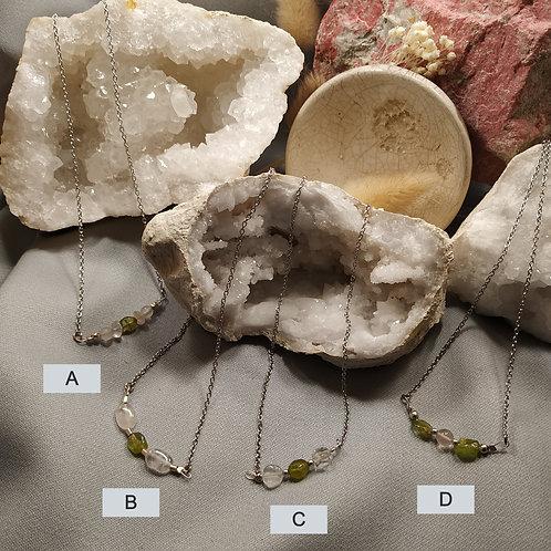 collier quartz rose épidote D