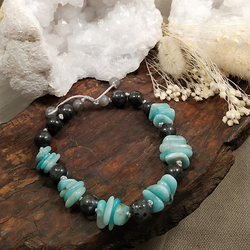 bracelet amazonite larvikite