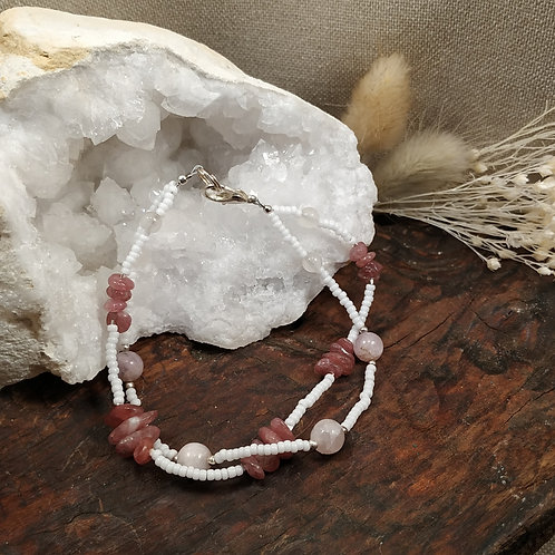 Bracelet double rubellite kunzite