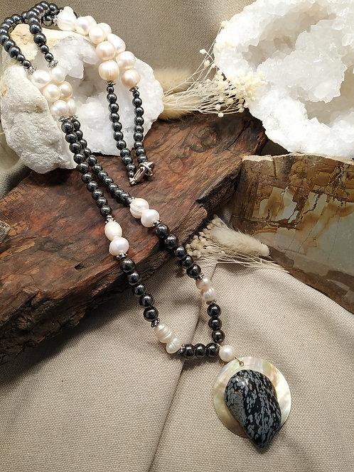 Sautoir perle hématite
