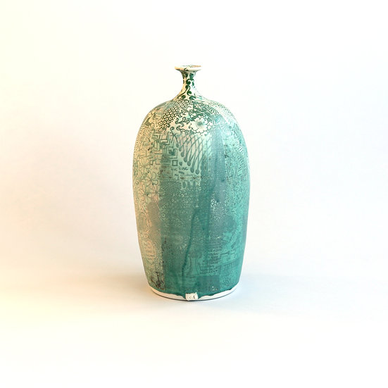Large Green Bottle with neck | Carolyn Tripp