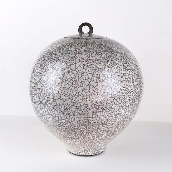 Large Tin Glaze Raku Lidded Jar | By Peter Sparrey