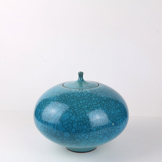 Turquoise Raku Lidded Jar   By Peter Sparrey