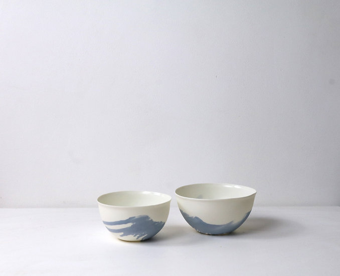 Large Bowls with Blue Swirl  | By The Light Forge