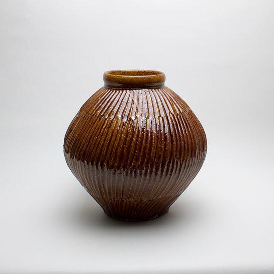 Fluted Amber Jar | By Leach Studio