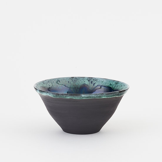Onyx and copper green small fluted bowl | By Kirsty Adams
