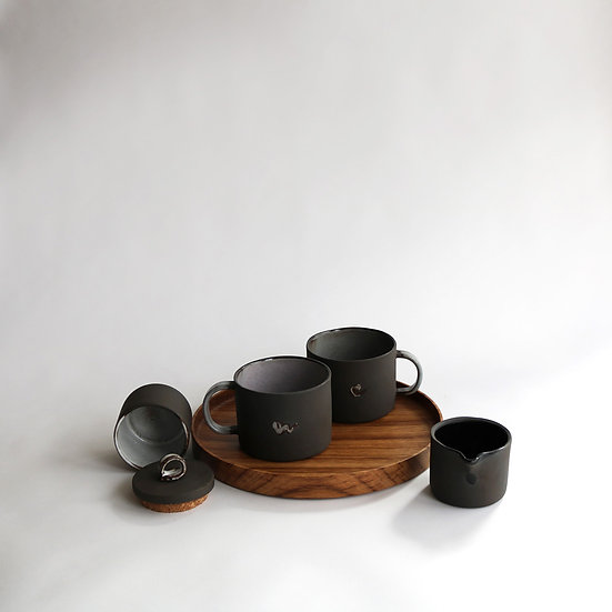 Medium Mug Set on Round Tray | By Carla Sealey (aka Naked Clay Ceramics)