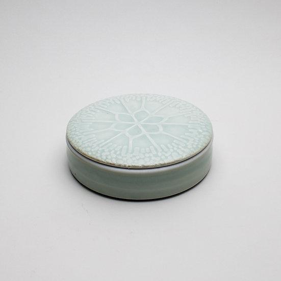 Celadon Algi Cell Lidded Jar   By Britta James