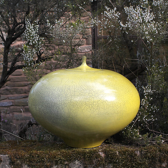 Extra-Large Yellow Raku Lidded Jar | By Peter Sparrey