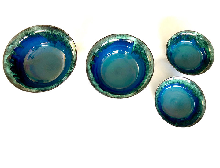 Medium fluted bowl onyx copper/tin   By Kirsty Adams