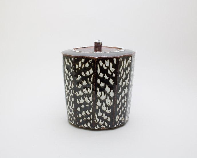 Small Tenmoku & Lavi Lid Jar | By Leach Studio