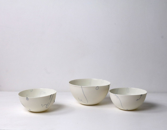 Bowls with Abstract Lines | By The Light Forge