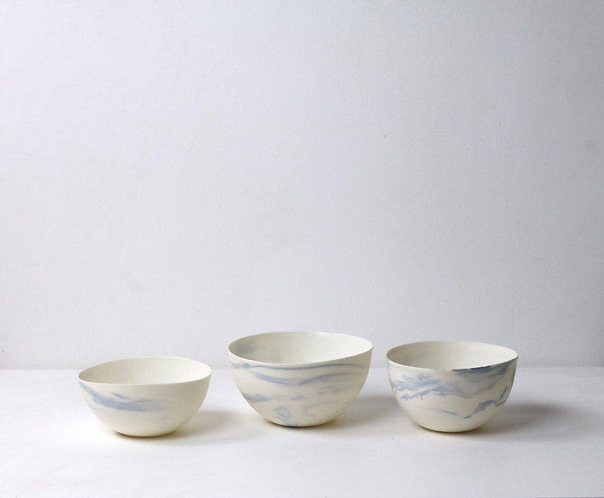 Medium Bowls with Blue Swirl  | By The Light Forge