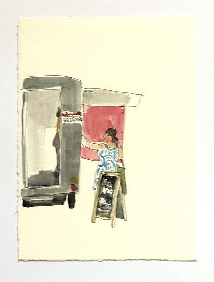 'Food Market (France)' Sketch | By Helen Beard