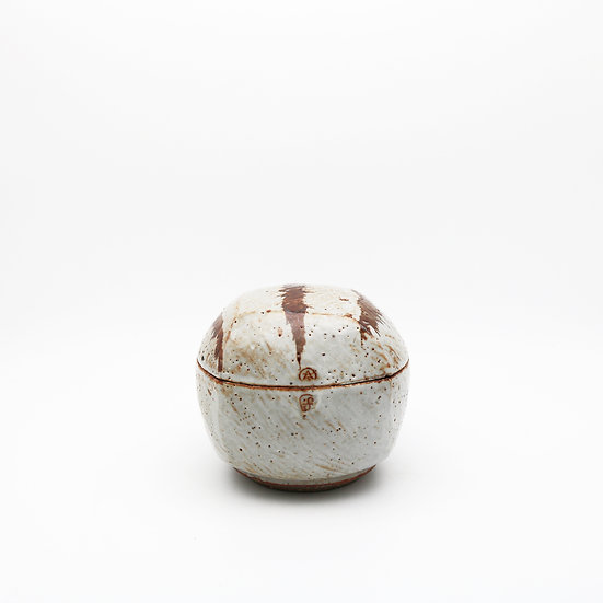 Medium Footed Shino/Iron Rasped Jar